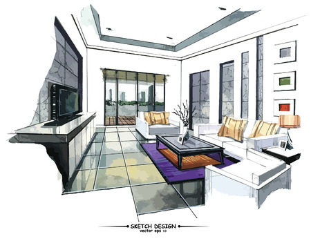 Ilustración de Vector interior sketch design. Watercolor sketching idea on white paper background. - Imagen libre de derechos