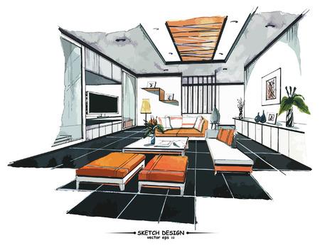 Illustration pour Vector interior sketch design. Watercolor sketching idea on white paper background. - image libre de droit