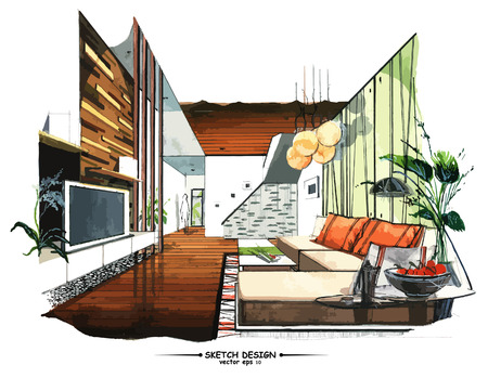 Illustration for Vector interior sketch design. Watercolor sketching idea on white paper background. - Royalty Free Image