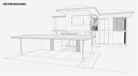 Illustration pour 3D wireframe of building - image libre de droit