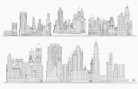 Illustration pour City view. Wireframe - image libre de droit