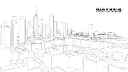 Illustration pour Perspective 3d Wireframe of building - image libre de droit