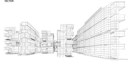 Illustration pour Perspective 3d Wireframe of City View - image libre de droit
