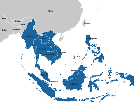 Illustration pour Southeast asia map. Maps Collection - image libre de droit