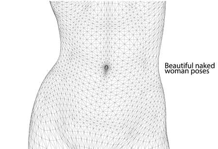 Illustration pour Beautiful naked woman poses. Female Body. 3d wireframe vector. - image libre de droit