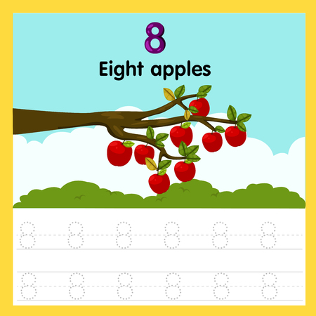 Ilustración de Illustrator of worksheet of eight apples - Imagen libre de derechos