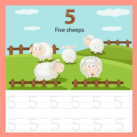 Ilustración de Illustrator of worksheet of five sheep - Imagen libre de derechos