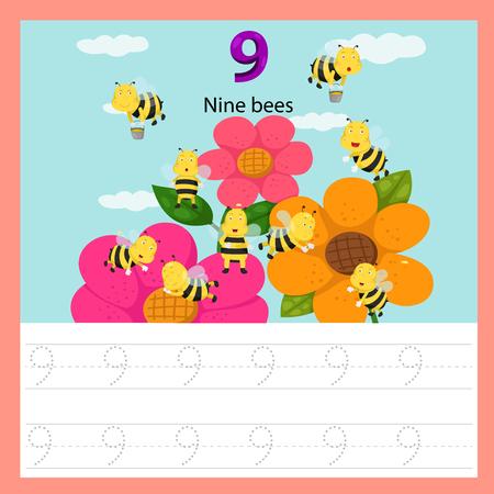 Ilustración de Illustrator of worksheet of nine bees - Imagen libre de derechos