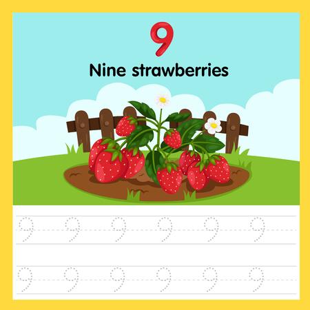 Ilustración de Illustrator of worksheet of nine strawberries - Imagen libre de derechos