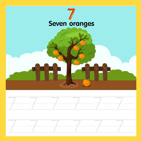 Ilustración de Illustrator of worksheet of seven oranges - Imagen libre de derechos