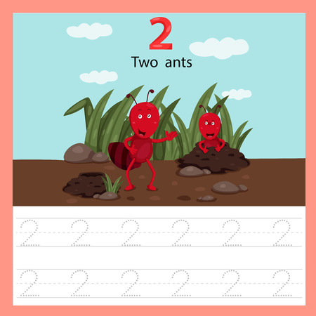 Ilustración de Illustrator of worksheet of two ants - Imagen libre de derechos