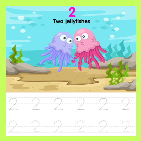 Ilustración de Illustrator of worksheet of two jellyfishes - Imagen libre de derechos