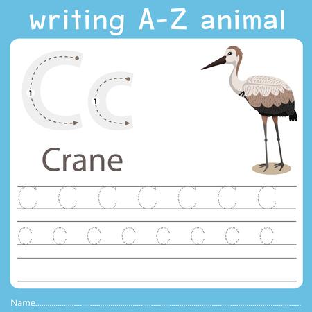 Ilustración de Illustrator of writing a-z animal c crane - Imagen libre de derechos