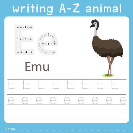 Ilustración de Illustrator of writing a-z animal e emu - Imagen libre de derechos