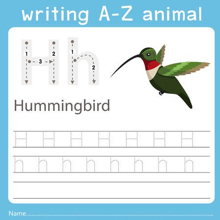 Ilustración de Illustrator of writing a-z animal h hummingbird - Imagen libre de derechos