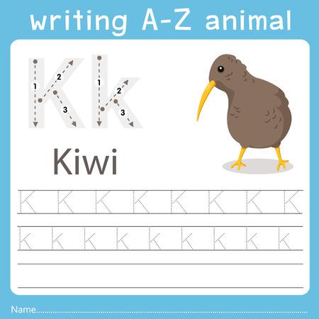 Ilustración de Illustrator of writing a-z animal k kiwi - Imagen libre de derechos