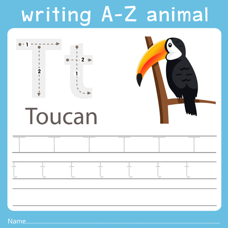 Ilustración de Illustrator of writing a-z animal t toucan - Imagen libre de derechos