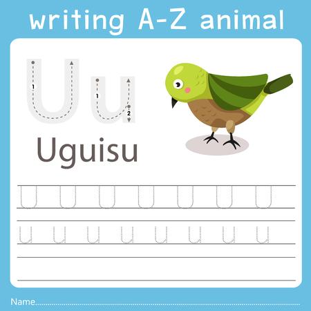 Ilustración de Illustrator of writing a-z animal u uguisu - Imagen libre de derechos