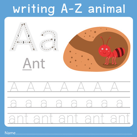 Ilustración de Illustrator of writing a-z animal a - Imagen libre de derechos