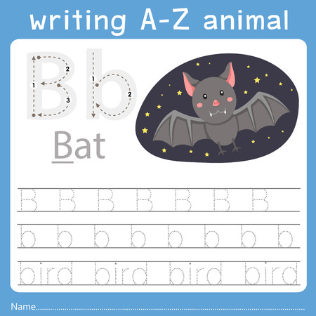 Ilustración de Illustrator of writing a-z animal b - Imagen libre de derechos