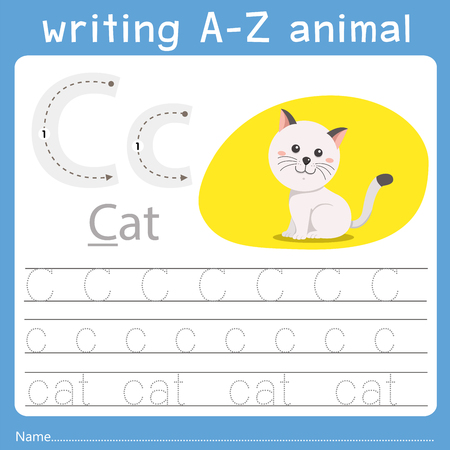 Ilustración de Illustrator of writing a-z animal c - Imagen libre de derechos