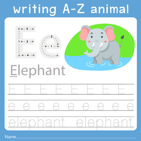 Ilustración de Illustrator of writing a-z animal e - Imagen libre de derechos