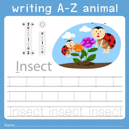 Ilustración de Illustrator of writing a-z animal i - Imagen libre de derechos
