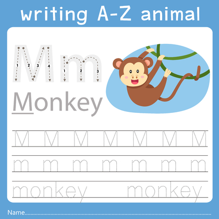 Ilustración de Illustrator of writing a-z animal m - Imagen libre de derechos