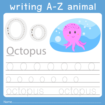 Ilustración de Illustrator of writing a-z animal o - Imagen libre de derechos