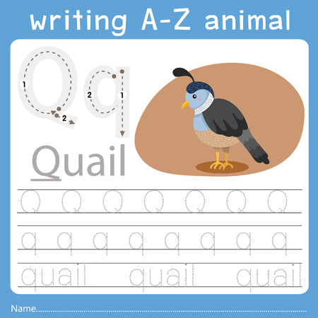 Ilustración de Illustrator of writing a-z animal q - Imagen libre de derechos