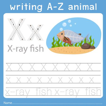 Ilustración de Illustrator of writing a-z animal x - Imagen libre de derechos