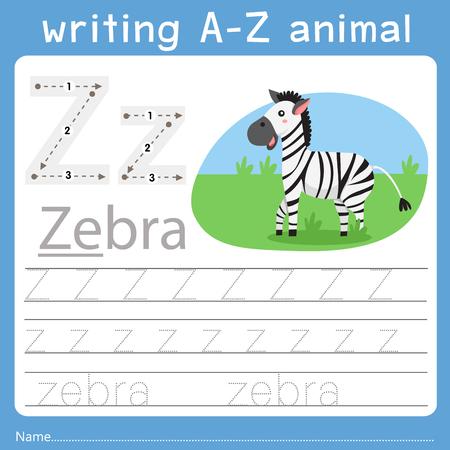 Ilustración de Illustrator of writing a-z animal z - Imagen libre de derechos