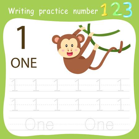 Ilustración de Worksheet Writing practice number one - Imagen libre de derechos