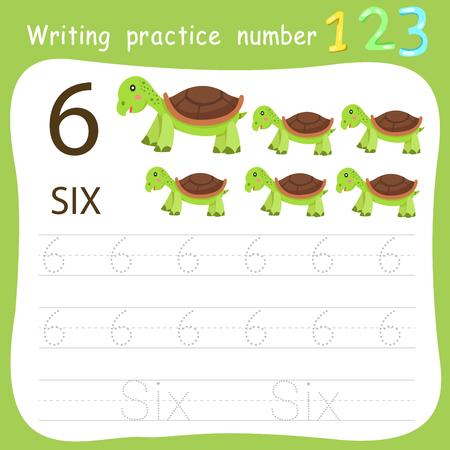 Ilustración de Worksheet Writing practice number six - Imagen libre de derechos