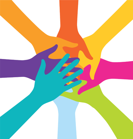 Illustration pour Many Teamwork People Join Colorful Hand - image libre de droit