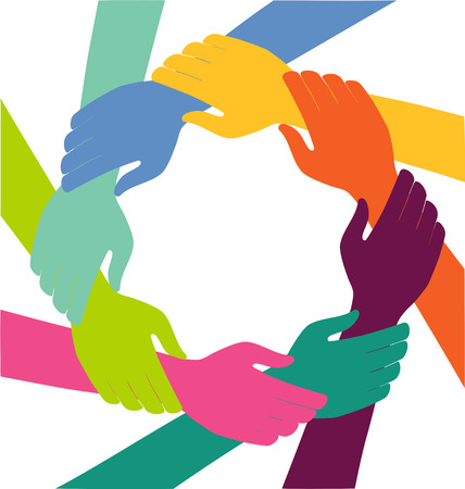 Illustration pour Creative Colorful Ring of Hands Teamwork Concept - image libre de droit