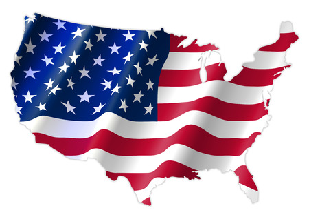 Illustration pour United States of America Map With Waving Flag, Cridit Map By Nasa - image libre de droit
