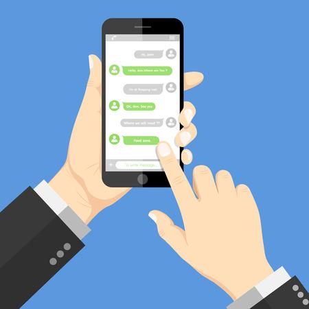 Ilustración de Flat  Design style human hand holding  the smartphone with chat online application on screen - Imagen libre de derechos