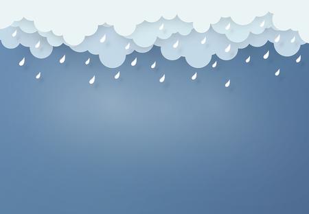 Illustration pour Paper art design style the concept is rainy season, Cloud and rain on dark background. - image libre de droit