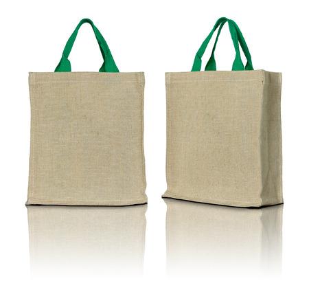 Foto de eco fabric bag on white background - Imagen libre de derechos