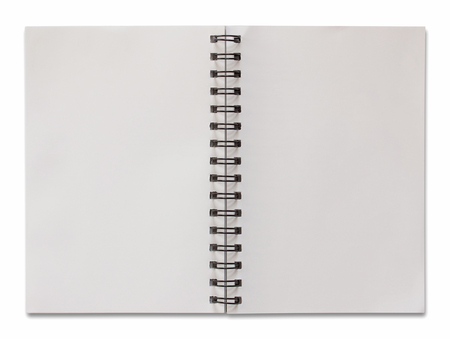 Foto de open spiral notebook isolated on white with clipping path - Imagen libre de derechos