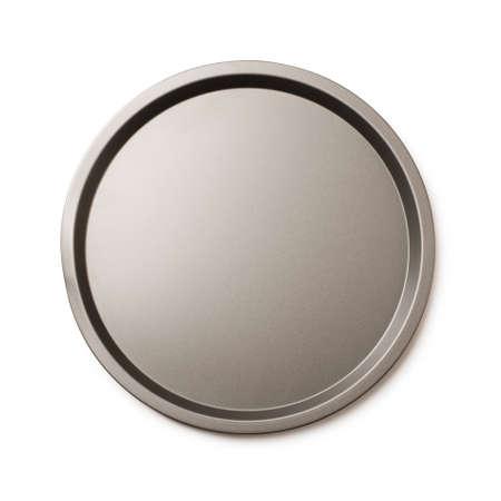 Foto de Round empty baking tin or round metal tray isolated on a white background - Imagen libre de derechos