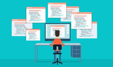 Illustration pour vector people programing develop web site and application - image libre de droit