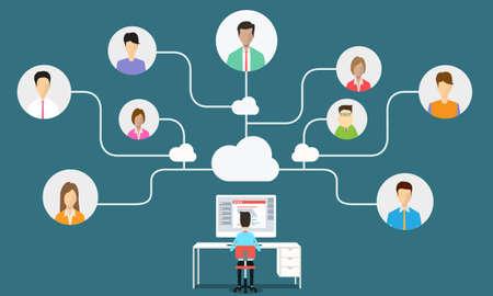 Illustration pour business man communication connection to business - image libre de droit