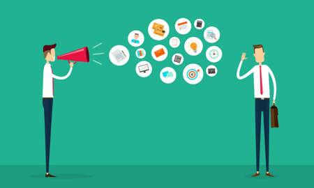 Illustration pour flat vector business communication and connection concept - image libre de droit