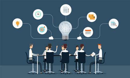 Illustration pour business teamwork meeting and brainstorm concept - image libre de droit