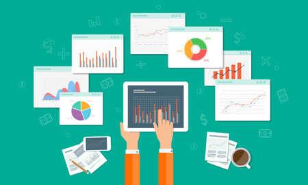 Illustration pour analytics graph and seo business on mobile device - image libre de droit