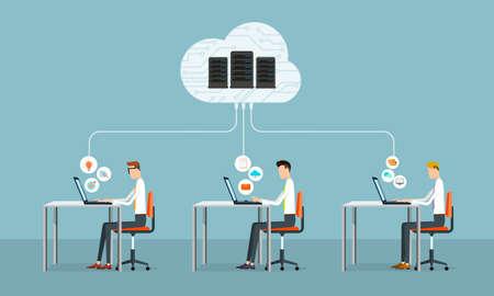 Ilustración de people business working on cloud network - Imagen libre de derechos