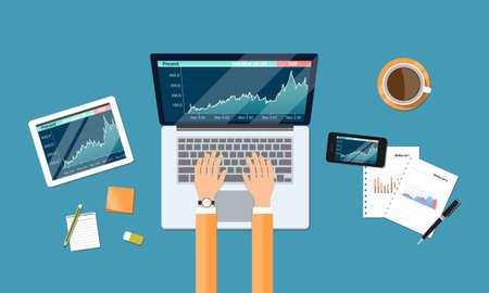 Ilustración de business financial investment and money graph report workspace - Imagen libre de derechos