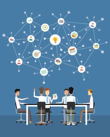 Ilustración de people business teamwork meeting and brainstorm concept - Imagen libre de derechos